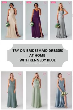 Try on Kennedy Blue Bridesmaid dresses from the safety and convenience of your home! Our at home try-on program is perfect for making sure you find dresses that flatter all of your bridesmaids. It is 10$ per dress with free shipping both ways!! #kennedyblue | #tryonbridesmaiddresses | #athometryonbridesmaiddresses | Kennedy Blue Bridesmaid Dresses