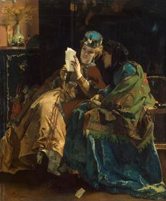 """Alfred Stevens' """"A Pleasant Letter."""" 1860s"""