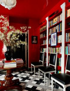 """Daring interior design tips from the pros: """"Paint is your friend. It's cheap and reversible and the easiest way to transform a room. If you don't have fourteen-inch tall baseboards and plaster cornices, why not paint the walls, trim and ceiling the same bold color?"""""""