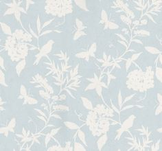 April (839-T-4754) - Thibaut Wallpapers - A pretty flower, butterfly and bird trailing design in two colours - white on pale blue with lustre effect. Paste the wall, wide width and vinyl coated. Please request sample for true colour. Delivery for this American wallcovering is 7-10 working days.