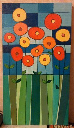 Flowers pastel – Famous Last Words Fabric Painting, Fabric Art, Flower Quilts, Mosaic Art, Doodle Art, Painting Inspiration, Textile Art, Flower Art, Folk Art