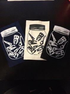 Teeth in a Jar screen printed punk patch by GenderBenders on Etsy, $3.00