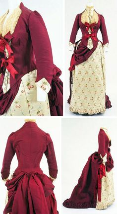 Dress, British, ca. 1880. Two or three pieces (bodice, skirt, collar which may or may not be attached to bodice). Silk grosgrain figured with roses, trimmed with lace & satin ribbon. Asymmetrical skirt is unusual in a late bustle-style garment. Bunka Gakuen Costume Museum, Tokyo