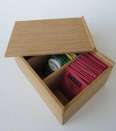 Bamboo Tea Bag Box w/ Sliding Lid by TheGoodyBoxLLC on Etsy, $29.95