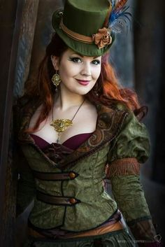 green steampunk womens top and hat Mode Steampunk, Steampunk Pirate, Steampunk Couture, Steampunk Cosplay, Steampunk Design, Victorian Steampunk, Steampunk Clothing, Steampunk Fashion, Gothic Fashion