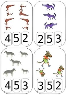 Cartes à compter Loups                                                                                                                                                                                 Plus Printable Numbers, Thematic Units, Matching Games, Math Centers, Kindergarten, Montessori, Literature, Preschool, Teaching
