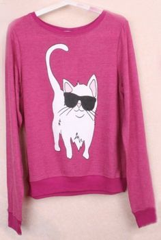 Red Round Neck Long Sleeve Cat Print Sweatshirt, perfect for a fall Sunday.