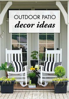 Create a Patio Oasis with Southern Living Plants - Sincerely, Sara D. I love the back of our home, but it is monochromatic and needed a l. Outdoor Rooms, Outdoor Living, Porch Bar, Front Porch Seating, Patio Seating, Patio Table, Patio Chairs, White Rocking Chairs, Rocking Chair Front Porch