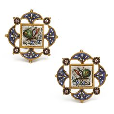 Pair Of Victorian Micro Mosaic Butterfly Clip Earrings, Worked In A Quatrefoil Shape And Set In 15k Yellow Gold - English    c.1890  -  A La Vieille Russie