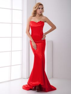 Red Elastic Woven Satin Sweetheart Strapless Mermaid Evening Dress at nextdress.co.uk