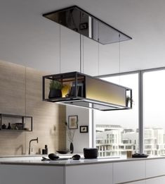 Berbel extractor bdl skyline frame centrifugal separator cooking island hood cooking island circulating activated carbon filter quality from Germany kitchen indus . Bright Kitchens, Home Kitchens, Hotte Design, Island Hood, Baguette, Benne, Farmhouse Kitchen Lighting, Extractor Hood, Interior Decorating