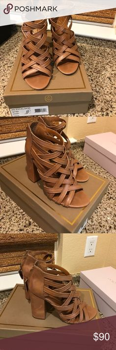 Ash Tan Leather sandal wedge Ash strapped tan leather sandal size 37. Zipper back   Gently worn on soles. Like new style AS-Excelsior   Color Cookie original box   Very cute. No trades please 4 inch heal slender leather straps open toe Ash Shoes Sandals