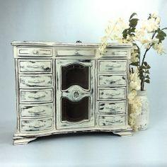 Beautiful large jewelry box shabby chic white by shabbyshores, $165.00
