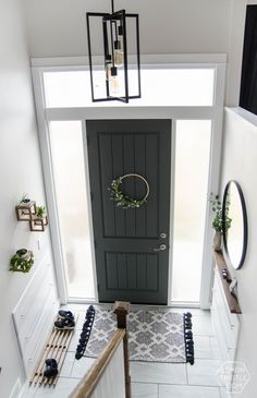 DIY Split Level Entry Makeover- I LOVE this entry. The oversize door, scandi inf… DIY Split Level Entry Makeover- I LOVE this entry. Home, Room Remodeling, Foyer Decorating, Split Entry Remodel, Home Remodeling, New Homes, House, Living Room Remodel, Basement Remodeling