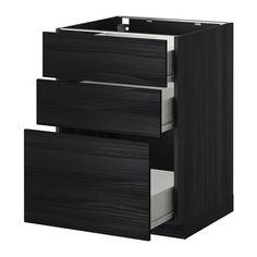 METOD / FÖRVARA Skrinka + 3 zásuvky - drevený efekt čierna, Tingsryd drevený efekt čierna, 60x60 cm - IKEA