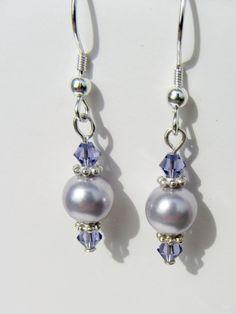 Pearl Dangle Earrings With Diamonds; Wedding Pearl Earrings For Brides; Gold And Pearl Dangle Earrings Pearl Jewelry, Wire Jewelry, Beaded Jewelry, Jewelery, Jewellery Box, Jewellery Shops, Jewelry Stores, Purple Earrings, Bead Earrings