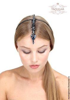 """Купить """"Восток"""" диадема / обруч для волос - тёмно-синий, обруч для волос, ободок для волос"""