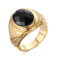 New Fashion Men Ring Gold-Color Titanium Ring 316L Stainless Steel Black Stone Ring Quality Male Finger Jewelry Wholesale