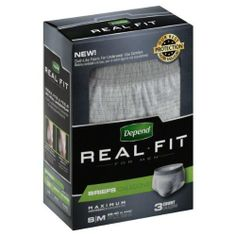 Depend Real Fit for Men Briefs, Small/Medium, Case/9 (3/3s) Depend