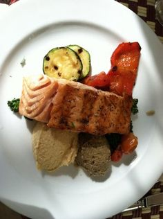 Salmon, Hummus, Eggplant & Vegetables from Bar Chateau Marmont