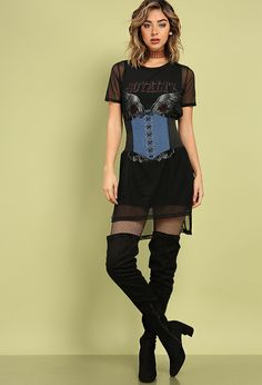 Layered Mesh Rock N' Roll Graphic Dress