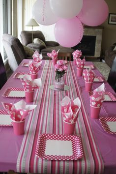 Girls birthday party table