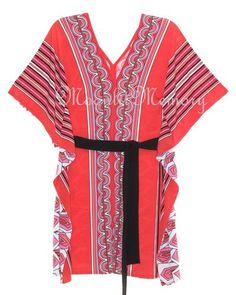 Vibrant coral-orange tunic top. Head-turning stripe and Deco geometric prints in black, white, orange, and pink. Short kimono sleeves with flutter drape down the sides. In a non-wrinkle travel knit! By Boston Proper. Offered by moonlitmemory on ebay.