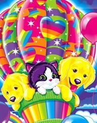I recently bought one of those adult coloring books and I noticed that all of my colorings were similar to Lisa Frank designs. I grew up with these, so I know where that influence came from!