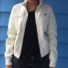 💋NEW: White Faux Leather Jacket Casual Faux leather jacket with beautiful bird design lining in the inside. 100% Polyurethane. Backing: 100% Viscose. Lining: 100% Polyester. vegan leather jacket ci sono by cavalini  Jackets & Coats