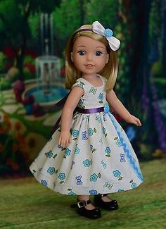 """Flowers & Bows"" Dress Outfit for American Girl Wellie Wishers, Hearts 4 Hearts"