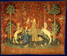 """""""The Lady and the Unicorn"""" (French: La Dame à la licorne), also called the Tapestry Cycle, is the title of a series of six Flemish tapestries depicting the senses. They are estimated to have been woven in the late 15th century in the style of mille-fleurs."""
