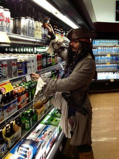 Captain Jack Sparrow is shopping at Walmart. His Rum has to be good. So ladies Captain Jack Sparrow shops there you might find him there too. I'm going shopping at Walmart for Captain Jack . Hopefully I can find Adam Beach and Keanu Reeves there too. Captain Jack Sparrow, Jonh Deep, Jack Sparrow Quotes, People Of Walmart, Pirate Life, Pirates Of The Caribbean, The Funny, Fangirl, At Least