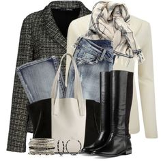 """Tweed Blazer & Tall Boots"" by brendariley-1 on Polyvore"