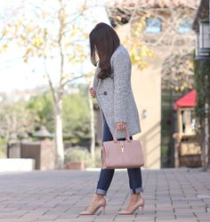 StylishPetite.com | tweed coat, blush YSL cabas chyc mini, nude pigalle louboutin pumps, fall outfit, winter coat, cold outfits, loft petite jeans