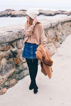 Denim mini (knee length) skirt, sweater, leggings, boots, knit hat