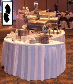 Poly Premier fitted tablecloths & table covers for serpentine tables #premiertablelinens.com