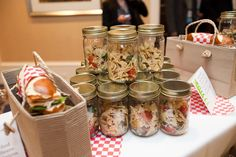 Grab-and-go options for picnic style events: Mason jars filled with Italian pasta salad.