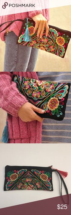 Beautiful Ornate Embroidered Clutch Bag Unusual oriental embroidery on a black clutch bag \/ wristlet. Get so many compliments on this bag that stands out from the crowd. Measures 10\ in length by 5.5\ in height. Fits everything you need for a day \/ night out. Only red tassel left in stock. Bags Clutches & Wristlets