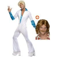 Mens Diso Man Costume & Wig - Stag Party or Party - Abba Stag Fancy Dress, Costume Wigs, Costumes, 70s Party, Dress Ideas, White Jeans, Men, Dresses, Fashion