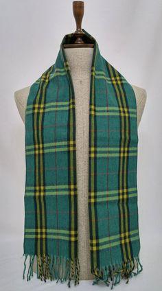 Green Wool Men's Scarf, Green Scarf, Plaid Green Scarf - SC183 #handmadeatamazon #nazodesign