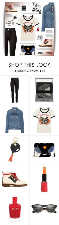 """""""Blind For Love"""" by cara-mia-mon-cher ❤ liked on Polyvore featuring H&M, Burberry, Madewell, Gucci, Iphoria, Furla, Giorgio Armani, WALL and Ray-Ban"""