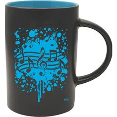 AIM Musical Note Burst Black/Blue Cafe Mug ($8) ❤ liked on Polyvore featuring home, kitchen & dining, drinkware, everyday drinkware, black drinkware, blue drinkware, music sheet and blue mug