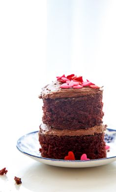 Mini chocolate layer cakes for two for Valentines Day- Dessert for Two