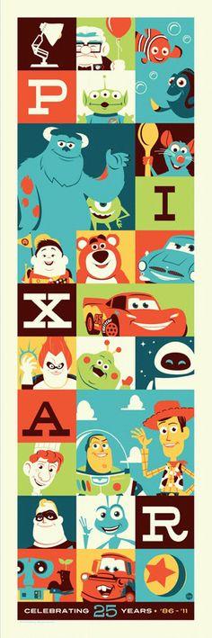 Disney // Pixar // celebrating 25 years // animation // film // pop art style