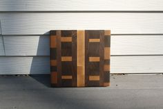 Brass crafted endgrain wood kitchen cuttingboard. SOLD www.brasscrafted.com 3d pattern design woodwork woodworking woodworker art
