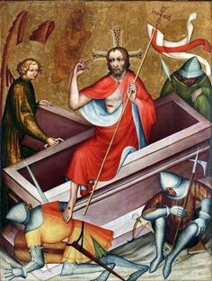 Grudziądz Polyptych - 1390 - This painting is the representation of the resurrection of Christ. The artwork shows the christ with his wounds walking out of his resting place with people below him. On the right the image of wings are painted representing the angel.