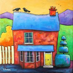 Crow Cottage, one of a series of quirky cottages. Acrylic on canvas.