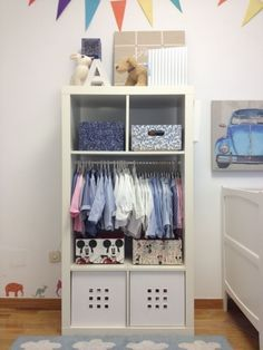 Small Wardrobe: IKEA Expedit combined Lekman boxes to make a clever wardrobe for a kid's room. Bathroom Storage Spice racks are going to appear in a few Ikea hacks. Ikea hacks using bookcases make the most of the products Ikea Closet Hack, Closet Hacks, Closet Ideas, Closet Organization, Ikea Bookcase, Ikea Expedit, Expedit Regal, Kallax Hack, Kallax Shelf