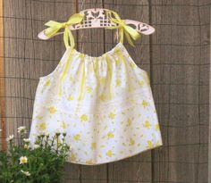Shabby Chic Girls Summer Top size 4 Yellow Handmade Boutique Clothing