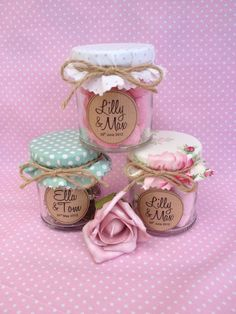 Sweets in a jar finished off with fabric jar covers. If you don't like the rustic twine, they could be tied with pretty ribbon.